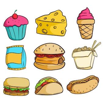 Colección de deliciosa comida chatarra con estilo doodle