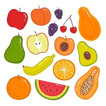 Colección deliciosa fruta dibujada a mano