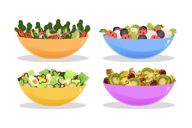 Colección deliciosa de frutas y ensaladeras