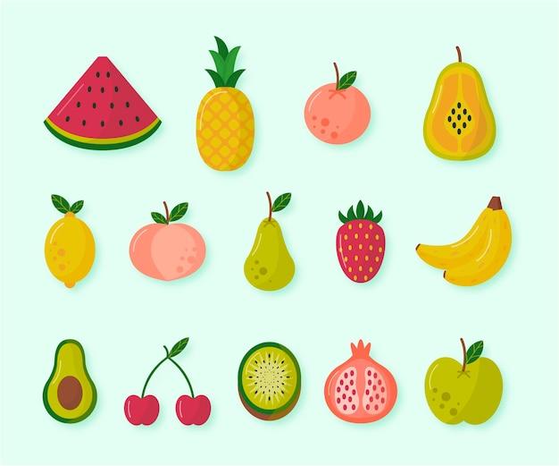 Colección de deliciosas frutas planas
