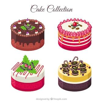 Colección de deliciosas tartas en estilo plano
