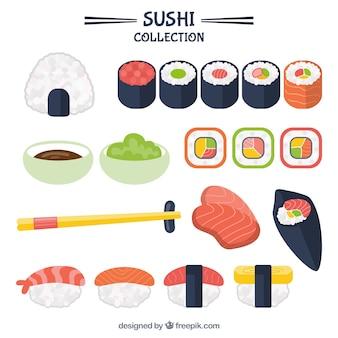 Colección de delicioso sushi