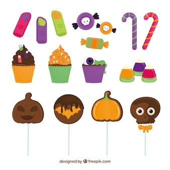 Colección de deliciosos dulces en diseño plano