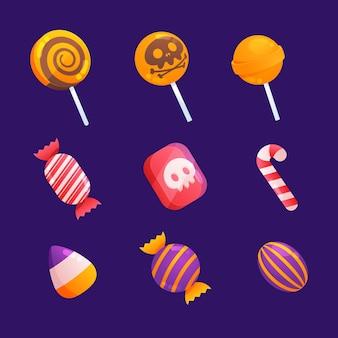 Colección de deliciosos dulces espeluznantes