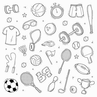 Colección de deporte doodle dibujado a mano