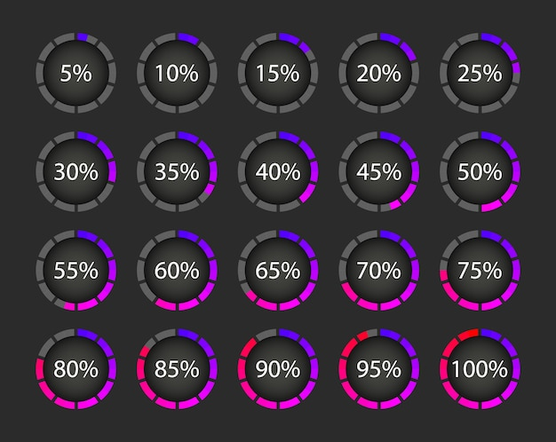 Colección de descargas en porcentaje. carga del círculo de progreso. elementos
