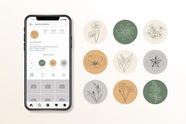 Colección de destacados florales de instagram