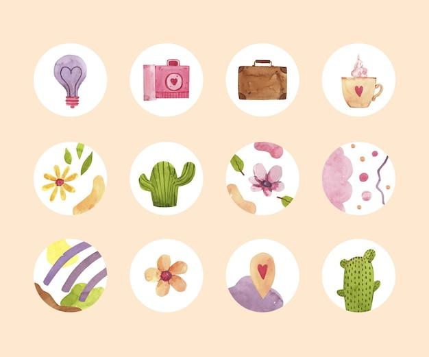 Colección de destacados de instagram en acuarela