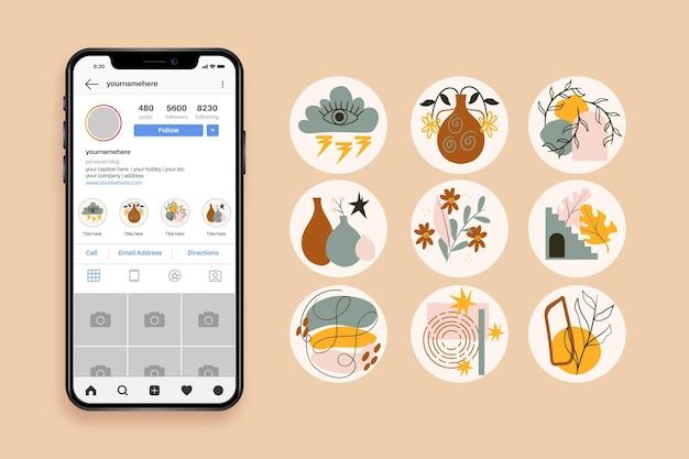 Colección de destacados de instagram dibujados a mano abstractos