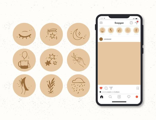 Colección de destacados de instagram dibujados a mano