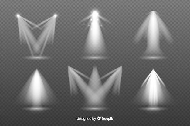 Colección de destellos de luz realistas