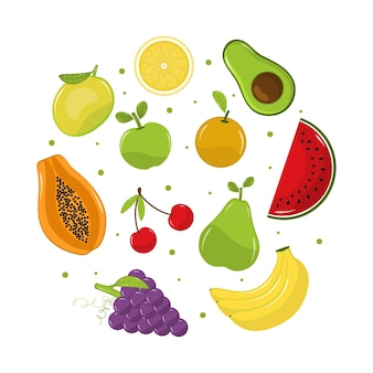 Colección detallada de frutas sabrosas