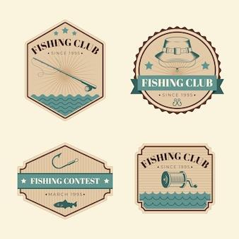 Colección detallada de insignias de pesca vintage