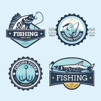 Colección detallada de insignias de pesca vintage vector gratuito