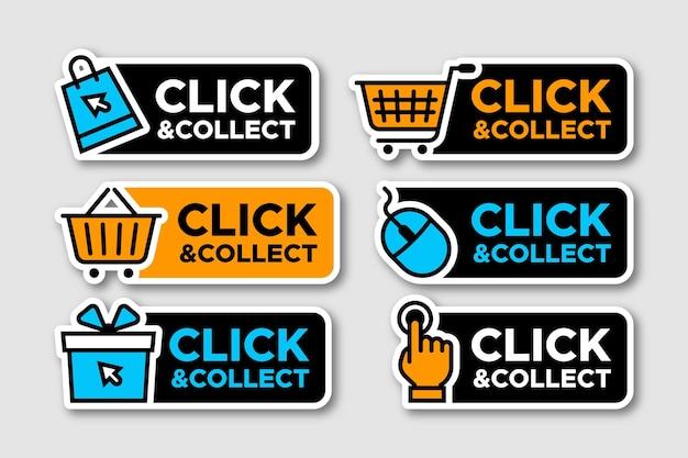 Colección detallada de letreros de clic y recopilación