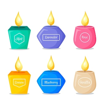 Colección detallada de velas perfumadas