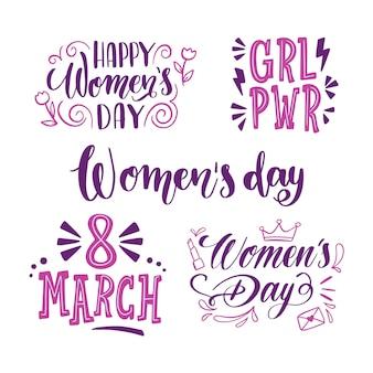Colección de día de las mujeres etiqueta de letras poderosas