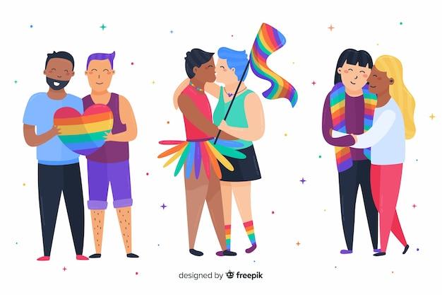 Colección día del orgullo familias y parejas