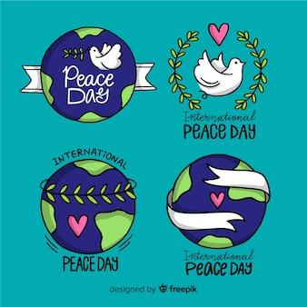 Colección del día de la paz dibujada a mano
