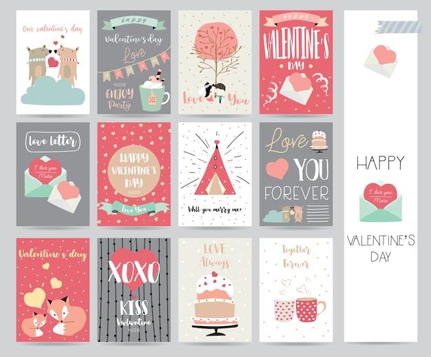Colección del día de san valentín para pancartas, pancartas con pastel, letra, cinta, oso, corazón y zorro.