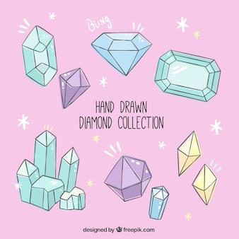 Colección de diamantes dibujados a mano