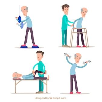 Colección dibujada a mano de ejercicios de fisioterapia