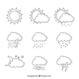 Colección dibujada a mano de nubes en diferentes condiciones climáticas
