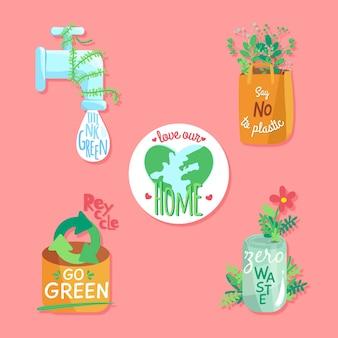 Colección dibujada de insignias de ecología