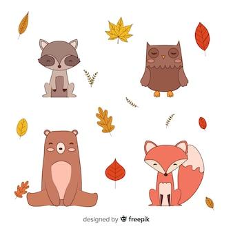 Colección dibujada a mano de animales del bosque otoñal