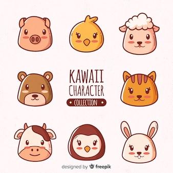 Colección dibujada a mano animales kawaii