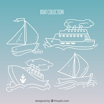 Colección dibujada a mano de barcos lineales