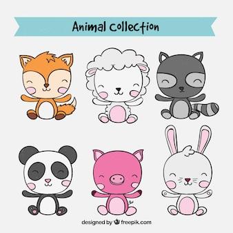 Colección dibujada a mano de bebés de animales