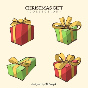 Colección dibujada a mano de cajas de regalos de navidad
