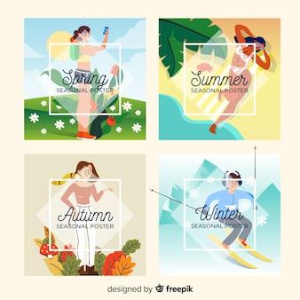 Colección dibujada a mano de carteles de temporada.