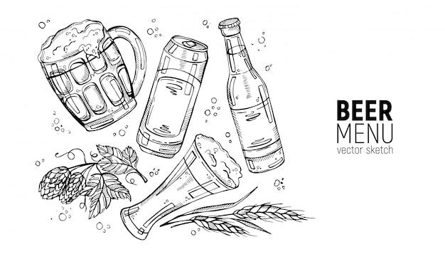 Colección dibujada a mano de cerveza y ingredientes de cerveza.