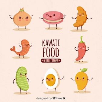 Colección dibujada a mano comida kawaii