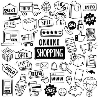 Colección dibujada a mano: compras en línea