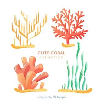 Colección dibujada a mano coral bajo el agua