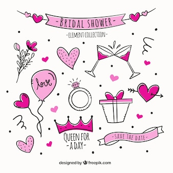 Colección dibujada a mano de elementos de despedida de soltera rosa
