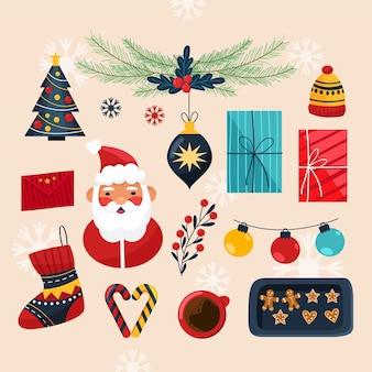 Colección dibujada a mano de elementos navideños