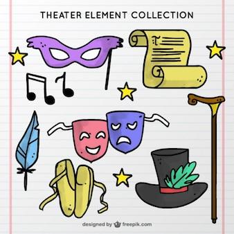 Colección dibujada a mano de elementos del teatro