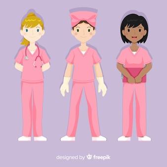 Colección dibujada a mano equipo de enfermeras