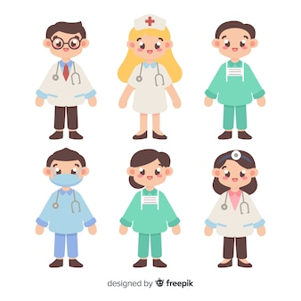 Colección dibujada a mano equipo de enfermeros