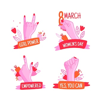 Colección dibujada a mano de etiquetas del día de la mujer