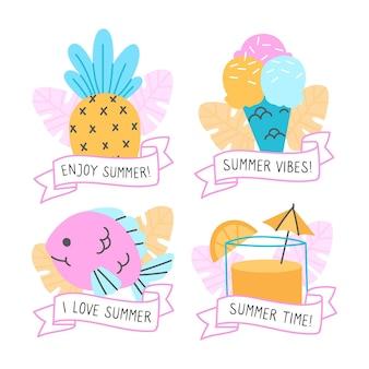 Colección dibujada a mano de etiquetas de verano