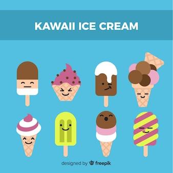 Colección dibujada a mano helados kawaii