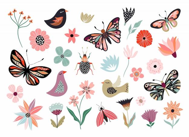 Colección dibujada a mano de mariposas, flores y pájaros de elemento diferente, aislado en blanco