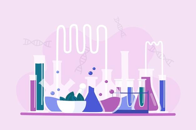 Colección dibujada a mano de objetos de laboratorio de ciencias