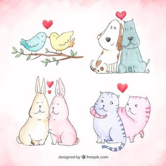 Colección dibujada a mano de parejas de animales de san valentin