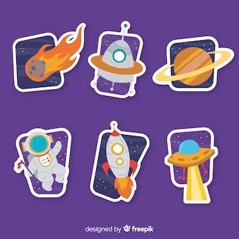 Colección dibujada a mano de pegatinas espaciales